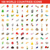 100 World countries icons set, isometric 3d style Royalty Free Stock Photography