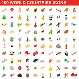 100 World countries icons set, isometric 3d style. 100 World countries icons set in isometric 3d style for any design illustration stock illustration