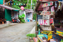 World countries signpost outside a bar at Lonely Beach, Koh Chang, Thailand. KOH CHANG, THAILAND - JUNE 2015 - World countries signpost outside a bar at Lonely Stock Image