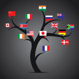 World country flag tree stock  Royalty Free Stock Photos