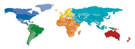 World Country Map Color. 3D World Country map separated by color Stock Image