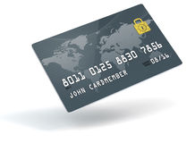 World Credit Card. A 3D blue credit card over a white background Stock Photo