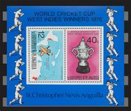 World cricket cup 1975 stamps Royalty Free Stock Images