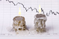 World crisis (burning of money). World crisis (burning of money, euro and dollar Stock Photos