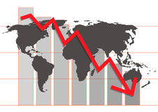 World crisis chart. In business market - ial illustration Royalty Free Stock Photos