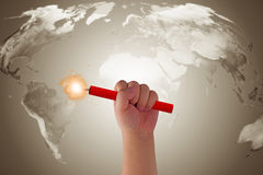 World Crisis Concept. Hand holding bomb on map background, Elements of this image furnished by NASA Stock Photos