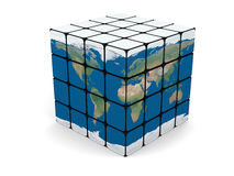 World cube. Concept of planet Earth made of cubes, isolated on white background. Elements of this image furnished by NASA Royalty Free Stock Image