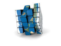 World cube. Concept of planet Earth made of cubes,  on white background. Elements of this image furnished by NASA Royalty Free Stock Image