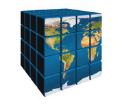 World in cubes. 3d blue cubes with color world map Royalty Free Stock Image