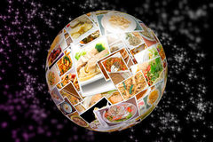 World Cuisine Collage Globe Royalty Free Stock Photos