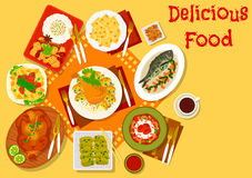 World cuisine popular lunch dishes icon. World cuisine popular dishes icon with italian chicken tomato pasta and pumpkin ravioli, japanese eggplant stew and Stock Images
