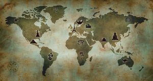 World Culture Map. World vintage map with landmarks and culture signs over grunge background Royalty Free Stock Photos
