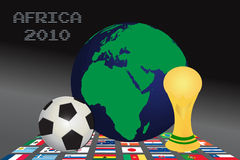 World cup. Graphic illustration with world cup, soccer ball and world globe vector illustration