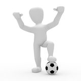 World Cup. 3D image, a character with soccer ball on white background Royalty Free Stock Photography