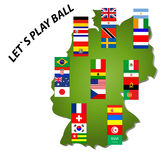 World Cup 2006. The 32 nations of the FIFA soccer World Cup in Germany divided in the eight preliminary rounds Royalty Free Illustration