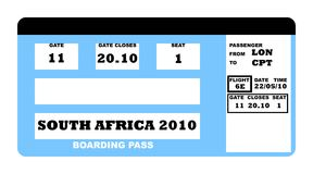 World Cup 2010. South Africa soccer world cup 2010 boarding pass, isolated on white background royalty free illustration