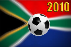 World cup 2010. Illustration of a soccer ball over south african flag for 2010 football world cup Stock Image