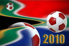 World cup 2010. Illustration of a soccer ball over south african flag for 2010 football world cup Stock Photo