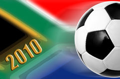 World cup 2010. Illustration of a soccer ball over south african flag for 2010 football world cup Stock Images