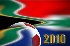 World cup 2010. Illustration of a soccer ball over south african flag for 2010 football world cup Stock Photos