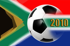 World cup 2010. Illustration of a soccer ball over south african flag for 2010 football world cup Royalty Free Stock Photos