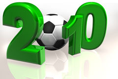 World Cup 2010. Royalty free stock image of a XXXL Large 3D render of the 2010, in green, isolated on white copy space. A soccer ball representing the number 0 Royalty Free Stock Photography