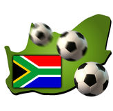 World Cup 2010. The silhouette of south africa with his flag and a flying soccer ball symbolizing the Soccer World Cup in 2010 Stock Photo