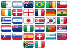 World Cup 2010 Flag Buttons. World Cup 2010 rectangular buttons.  Flags from all 32 participating countries Royalty Free Stock Images