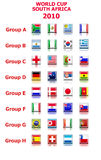 World cup 2010 groups vector. Set of 32 flags grouped into qualifying coutries for world cup 2010 stock illustration