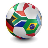 World cup 2010 soccer ball. 3d render/illustration of a soccer ball with national flags - south african flag in front - clipping path included Royalty Free Stock Images