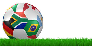 World cup 2010 soccer ball in grass. 3d render/illustration of a soccer ball with national flags in grass on white - south african flag in front - clipping path Stock Photography