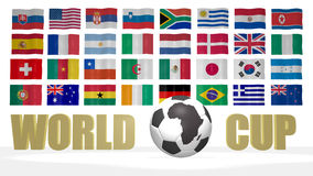 World Cup 2010 South Africa flags. World cup 2010 South Africa theme with the national flags of participating countries on the background. The soccer ball has an Royalty Free Stock Photo