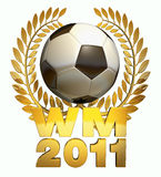 World Cup 2011. Soccer ball in black and white in the middle of a golden laurel wreath with the caption WM 2011 Royalty Free Stock Images