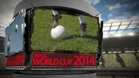 World cup 2014 animation in large stadium stock video footage