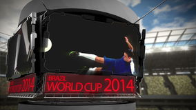 World cup 2014 animation in large stadium stock video