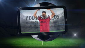 World cup animation with tablet screen showing player stock video footage