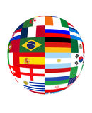 World cup 2014. Ball of world cup 2014 with flags stock illustration