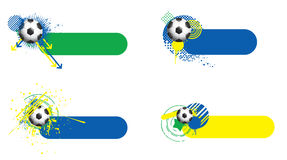 World cup banners. 4 FIFA World Cup 2014 banners. They have soccer balls on them and a grunge and trendy feel to them. They all have the Brazilian flag colours Royalty Free Stock Photos