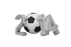 World cup 2014 with black and white ball. On white background Stock Image