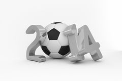 World cup 2014 with black and white ball. On white background Stock Photo