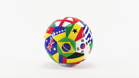 World Cup Brazil. 3D soccer balls with flags on world football cup 2014. Palaced on 3d grass. Background  with clipping path Stock Photography