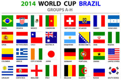 World Cup Brazil 2014 All Nations Vector Flags Stock Images