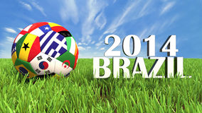 World Cup Brazil. 3D soccer balls with flags on world football cup 2014. Palaced on 3d grass. Background isolated with clipping path Stock Image