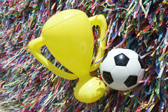 World Cup Brazil Good Luck Ball and Trophy Royalty Free Stock Photos