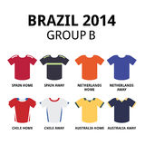 World Cup Brazil 2014 - group B teams football jerseys. Soccer jerseys set for Spain, Netherlands, Chile and Australia Royalty Free Stock Images