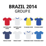 World Cup Brazil 2014 - group D teams football jerseys Royalty Free Stock Image