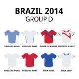 World Cup Brazil 2014 - group D teams football jerseys. Soccer jerseys set for Uruguay, Costa Rica, England and Italy Stock Photography