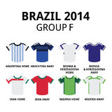 World Cup Brazil 2014 - group F teams football jerseys. Soccer jerseys set for Argentina, Bosnia & Herzegovina, Iran, Nigeria Stock Images