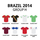 World Cup Brazil 2014 - group F teams football jerseys Royalty Free Stock Photo