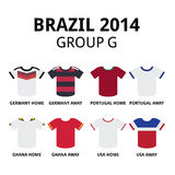 World Cup Brazil 2014 - group F teams football jerseys. Soccer jerseys set for Germany, Portugal, Ghana, USA Royalty Free Stock Photo
